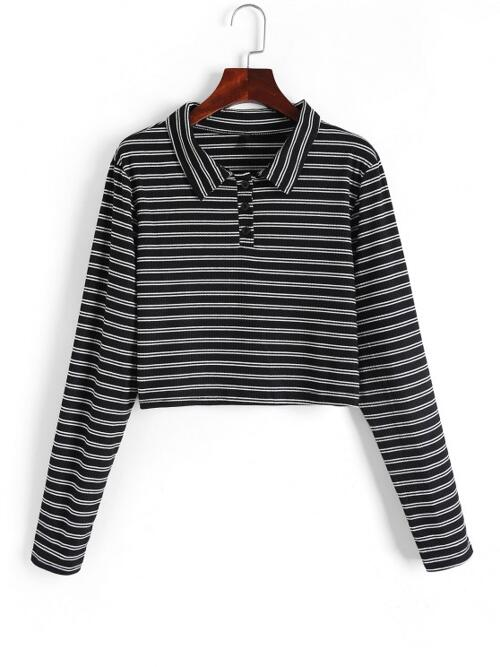 Full Sleeve Cotton,polyester Striped Black Half-buttoned Crop Knitwear Affordable