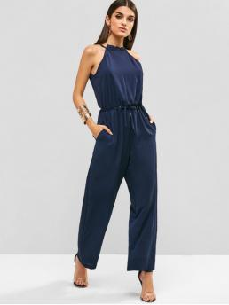 Summer No Pockets Solid Nonelastic Sleeveless Ruffled Regular Elegant Daily and Holiday Textured Tie Wide Leg Jumpsuit