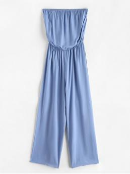 Summer No Solid Sleeveless Strapless Loose Casual Casual Solid Color Strapless Wide Leg Jumpsuit