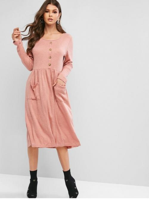 No Fall and Spring Solid Button and Pockets Long Scoop Mid-Calf A-Line Day and Vacation Casual Knitted Pocket Button Embellished Dress