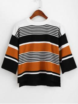 Autumn and Spring and Winter Slit Striped Elastic Three Drop Crew Regular Regular Fashion Daily and Going Pullovers Crew Neck High Low Slit Stripes Sweater