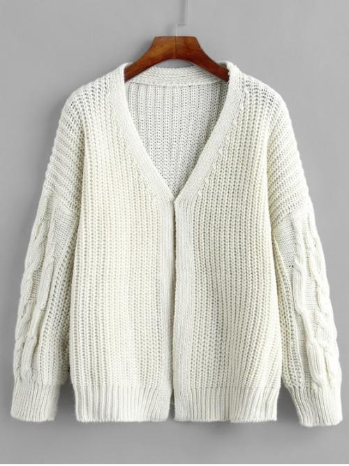 Autumn and Winter Solid Elastic Full Drop Collarless Regular Regular Fashion Daily and Going Cardigans Chunky Cable Knit Drop Shoulder Cardigan