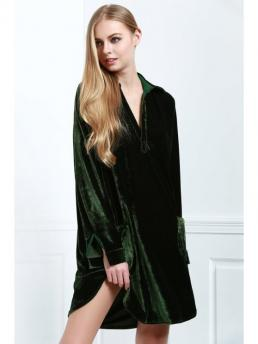 No Fall and Winter Solid Long Turn-down Mini Straight Casual and Day Casual Loose Velvet Shirt Dress
