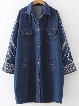 Fall Fashion Embroidery Others Shirt Full Long Wide-waisted Trench Embroidered Jean Coat