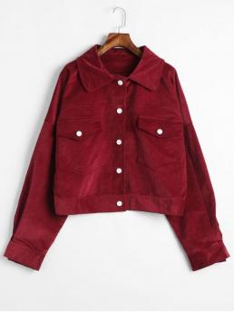 No Autumn and Spring Pockets Solid Shirt Full Regular Wide-waisted Fashion Jackets Daily Snap Button Corduroy Shirt Jacket
