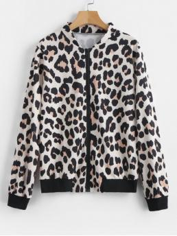 No Autumn and Winter Leopard Zipper Stand-Up Full Regular Wide-waisted Fashion Jackets Daily and Going Zip Up Leopard Jacket
