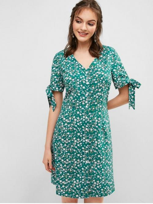 No Summer Nonelastic Floral Short V-Collar Knee-Length A-Line Casual and Day Cute Floral Tie Cuffs Tea Dress