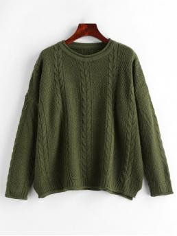 Autumn Slit Solid Nonelastic Full Drop Crew Regular Loose Casual Daily Pullovers Cable Knit Drop Shoulder Slit Sweater