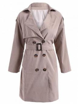 Fall and Spring and Summer Fashion Sashes Solid Lapel Full Long Slim Trench Double-Breasted Belt Trench Coat