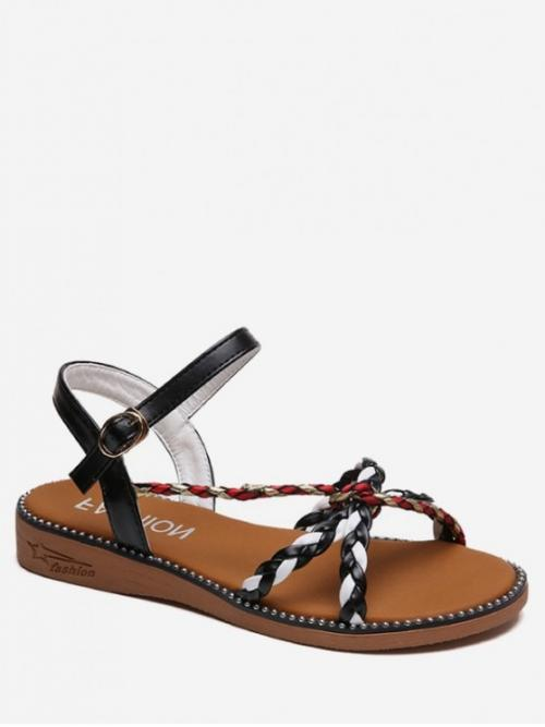 PU Others Buckle Flat Ankle Daily Leisure For PU Leather Braided Slingback Sandals