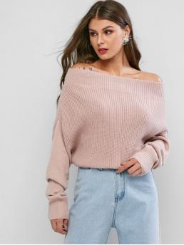 Autumn and Spring Solid Elastic Full Batwing Off Regular Loose Casual Daily Pullovers Exposed Shoulder Batwing Sleeve Plain Sweater
