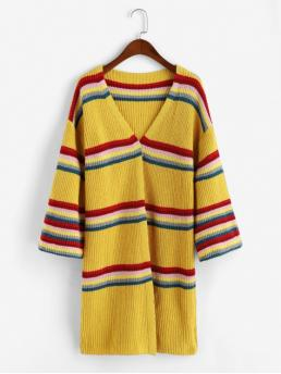 Autumn Striped Elastic Full Drop Collarless Long Loose Casual Daily Cardigans Striped Chunky Knit Open Cardigan