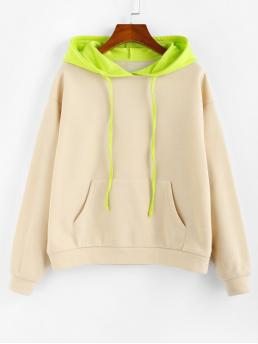 Autumn and Spring Front Others Full Regular Drop Hooded Hoodie Drop Shoulder Colorblock Front Pocket Hoodie