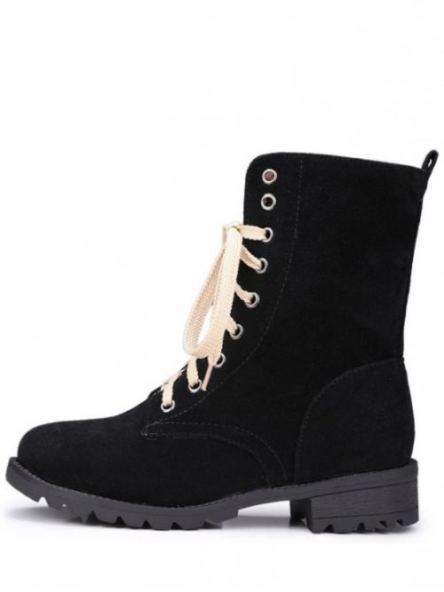 Spring/Fall and Winter Microfiber Solid Lace-Up Low Round 17CM Mid-Calf Fashion For Lace-Up Solid Colour Combat Boots