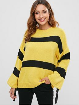 Pretty Full Sleeve Pullovers Polyacrylic Yellow Two Tone Sweater