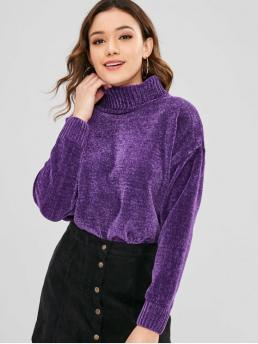 Winter Solid Elastic Full Drop Turtlecollar Regular Loose Fashion Daily Pullovers Chenille Turtleneck Drop Shoulder Sweater