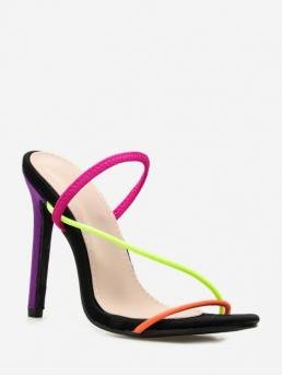 11CM Summer Synthetic Peep Open Stiletto D'Orsay Daily Fashion Pumps Color Block Strap High Heel Pumps