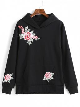 Autumn Embroidery and Front Floral Full Regular Drop Hoodie Floral Embroidered Front Pocket Casual Hoodie