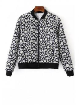 Pattern Floral Stand-Up Full Wide-waisted Fashion Jackets Tiny Floral Print Baseball Jacket