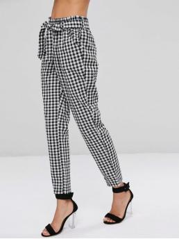 Fall and Spring and Summer Elastic Straight Plaid Pockets Regular High Fashion High Waisted Gingham Paper Bag Pants