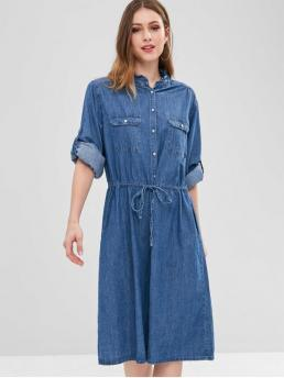 No Fall and Spring Solid Pockets Long High Mid-Calf Sheath Casual Casual Button Up Pocket Chambray Dress