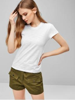 Summer Solid Short Round Casual Casual Short Sleeve Plain T-shirt