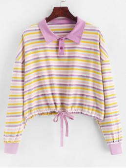 Autumn and Spring and Winter Striped Elastic Full Short Drop Shirt Sweatshirt Two Buttoned Drop Shoulder Rainbow Stripes Sweatshirt