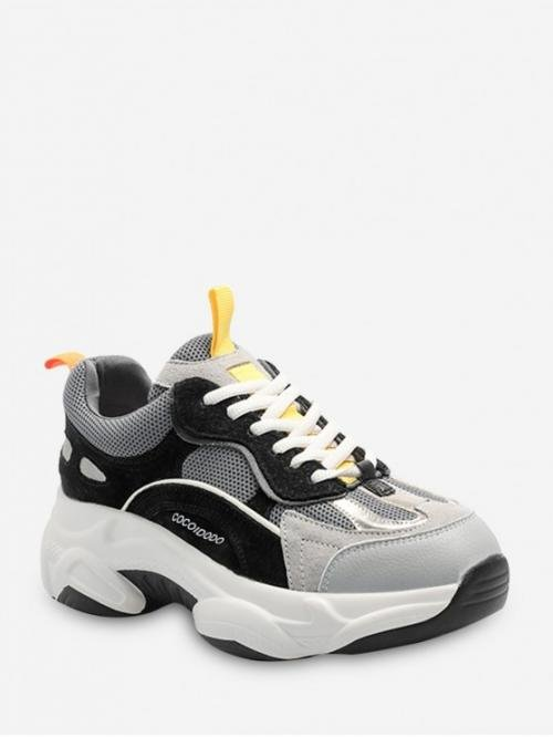 Height Spring/Fall Mesh Rubber Patchwork Lace-Up For Color-blocking Breathable Lace Up Dad Sneakers