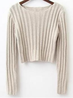 Fall Solid Fashion Round Full Pullovers Long Sleeve Round Neck Cropped Sweater