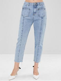 Patch Pockets Washed Mom Jeans