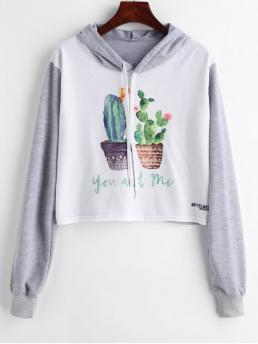 Autumn and Spring Graphic Full Short Hoodie Pot Plants Print Cropped Graphic Hoodie