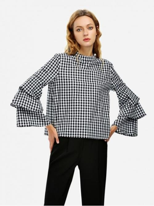 ZAN.STYLE Bell Sleeve Plaid Blouse Shirt