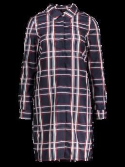 Spring and Summer No Plaid Long Shirt Knee-Length Straight Causal and Day Casual Slit Checked Shirt Dress