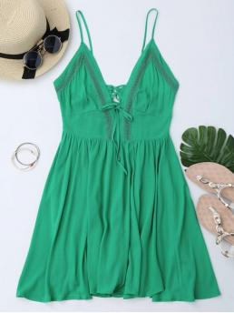 Summer No Solid Sleeveless Spaghetti Mini A-Line Casual and Day and Going Brief Plunge Low Back Lace Up Sundress