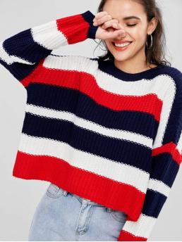 Autumn and Winter Striped Elastic Full Round Short Loose Fashion Daily Pullovers Oversize Stripes Sweater