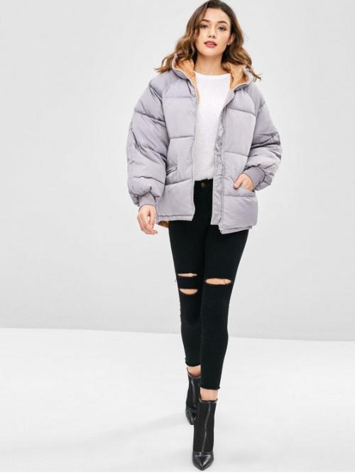Winter Pockets and Zippers Solid Hooded Raglan Full Regular Wide-waisted Coat Casual Raglan Sleeve Hooded Padded Coat