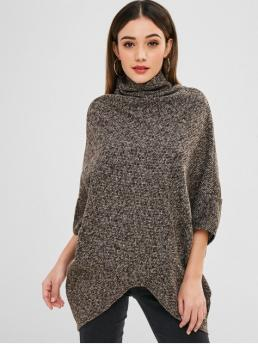 Micro-elastic Three Cowl Long Loose Fashion Pullovers Cowl Neck Textured Weave Poncho Sweater