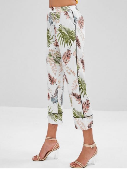 Fall and Spring No Elastic Wide Leaf Regular High Fashion Palm Leaves Wide Leg Pants