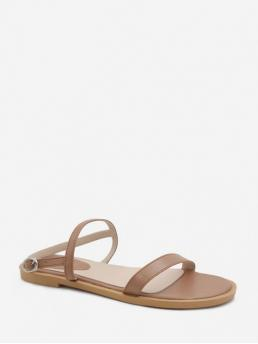 Summer PU Rubber Solid Buckle Flat Ankle Casual and Daily Casual For Simple Flat Heel Sandals