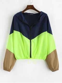 No Nonelastic Autumn and Spring Zippers Patchwork Zipper Hooded Full Regular Wide-waisted Fashion Jackets Daily and Going Zip Up Neon Color Block Windbreaker Jacket