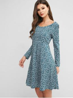 No Fall and Spring Nonelastic Floral Tie Long V-Collar Knee-Length A-Line Vacation Fashion Tie Front Floral Long Sleeve A Line Dress
