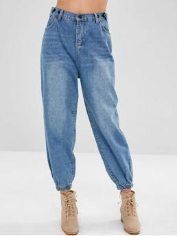 Fall and Spring Pocket Loose Normal Medium Fashion High Waisted Baggy Joggers Jeans