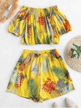 No Summer Leaf and Pineapple Pleated Elastic Mid Short Off Regular Fashion Beach Pineapple Off Shoulder Blouse and Shorts Set