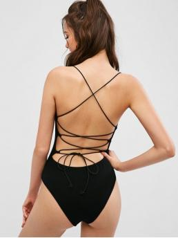 No Summer Backless and Criss-Cross Solid Sleeveless Spaghetti Sexy Club Knitted Criss Cross Backless Bodysuit