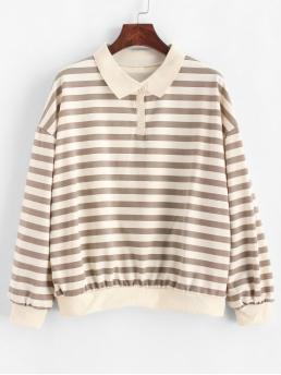 Autumn and Spring and Winter Striped Elastic Full Regular Drop Shirt Sweatshirt Drop Shoulder Loose Stripes Half Buttoned Sweatshirt