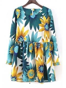 Spring and Fall No Floral Long Mini Round A-Line Cute Long Sleeve Sunflower Print Dress