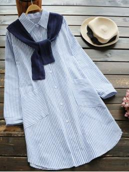 Fall and Spring No Striped Long Shirt Mini Straight Causal and Going Casual Slit Striped Shirt Dress with Removable Capelet