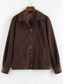 Ladies Full Sleeve Wide-waisted Polyester Solid Ribbed Buttons Corduroy Jacket