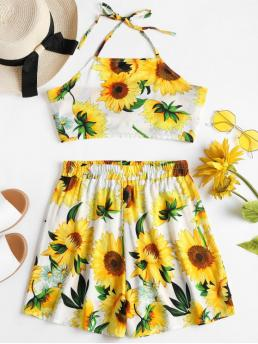 Summer Floral Pleated Elastic High Sleeveless Halter Straight Fashion Beach Sunflower Top Shorts Two Piece Matching Set