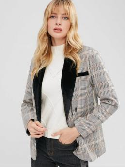 Fall and Winter Plaid Double Full Shawl Regular Regular Fashion Velvet Panel Plaid Casual Blazer